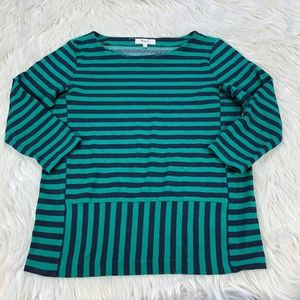 Madewell Green Black Striped Ponte Knit Top